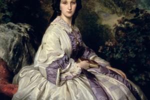 Vestido de seda mujer rica siglo XIX