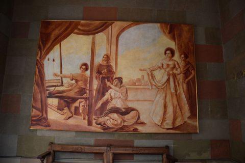 Pintura de Santasusagna a la Casa de la Seda
