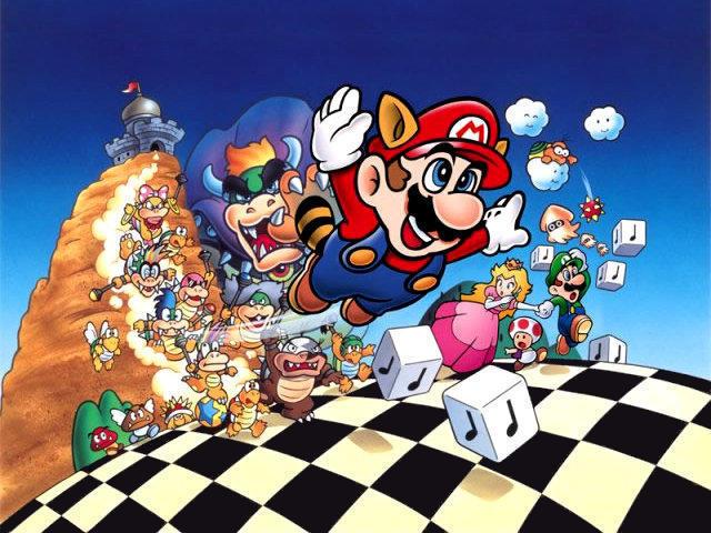 Portada del joc Super Mario Bros 3 amb tauler d'escacs